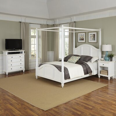 Harrison Traditional Canopy 3 Piece Bedroom Set Size: Queen, Finish: White