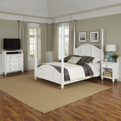 Harrison Four Poster 3 Piece Mahogany Bedroom Set Size: Queen, Finish: White