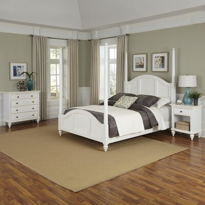 Harrison Four Poster Shutter 3 Piece Bedroom Set Size: Queen, Finish: White