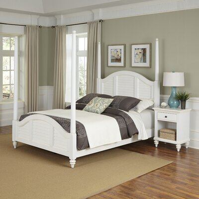 Harrison Traditional Four Poster 2 Piece Bedroom Set Size: King, Finish: White