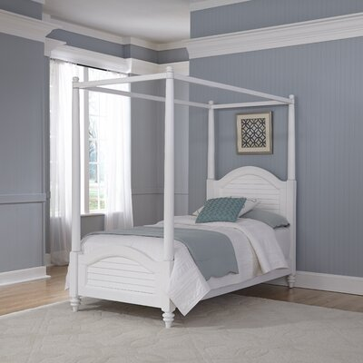 Harrison Twin Canopy Bed Finish: Brushed White