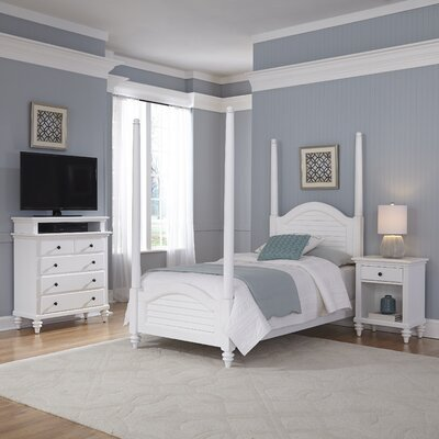 Kenduskeag Four Poster 3 Piece Bedroom Set Finish: Brushed White