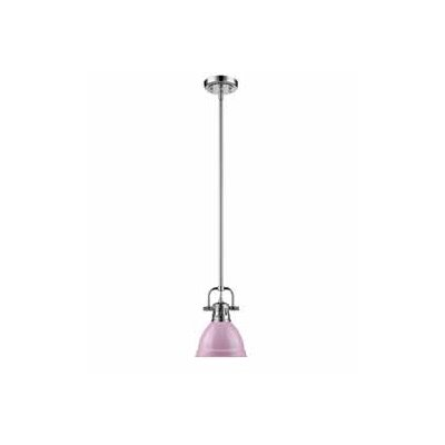 Bodalla 1-Light Bowl Metal Mini Pendant Finish: Chrome, Shade Color: Pink