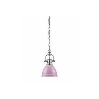 Bodalla 1-Light Bowl Mini Pendant Finish: Pewter, Shade Color: Pink