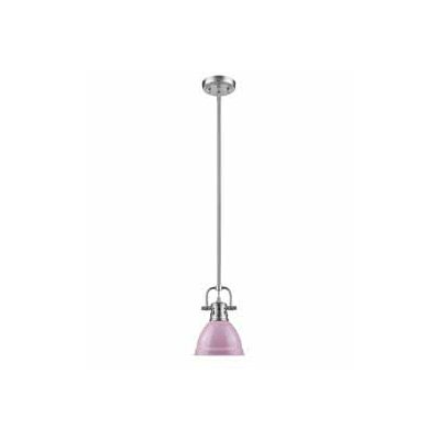 Bodalla 1-Light Bowl Metal Mini Pendant Finish: Pewter, Shade Color: Pink