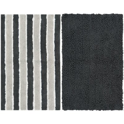 Pratincole Hand-Tufted 2 Piece Gray Area Rug Set Rug Size: 23 x 39