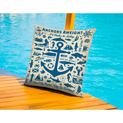 Windermere Anchor Pattern Print Outdoor Throw Pillow Size: 16