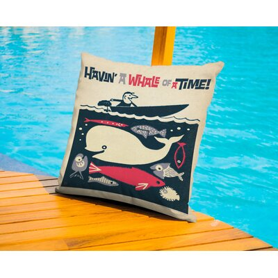 Bradley Having A Whale Of A Time Outdoor Throw Pillow Size: 16 H x 16 W x 2 D
