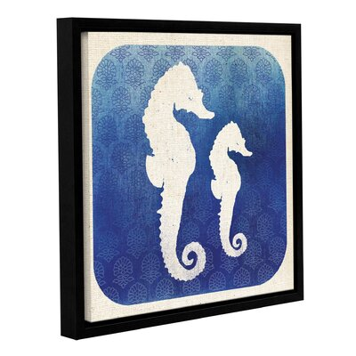 Watermark Seahorse Framed Graphic Art on Wrapped Canvas Size: 14