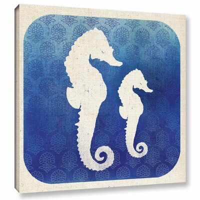 Watermark Seahorse Graphic Art on Wrapped Canvas Size: 14