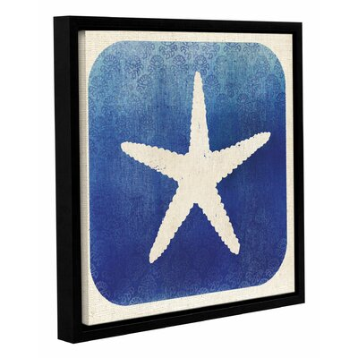 Watermark Starfish Framed Graphic Art on Wrapped Canvas Size: 14