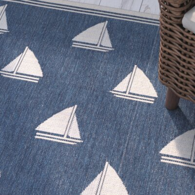 Bosworth Navy/Beige Indoor/Outdoor Area Rug Rug Size: Rectangle 53 x 77