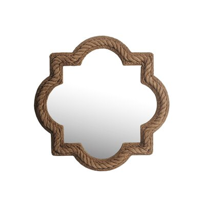 Round Bevel Rope Brown Wood Mirror