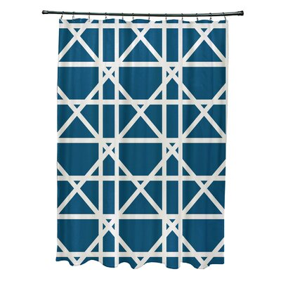 Osage Trellis Geometric Print Shower Curtain Color: Teal