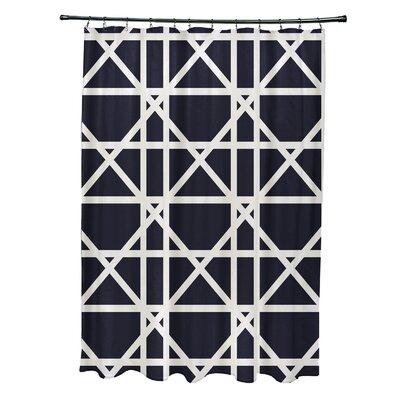 Osage Trellis Geometric Print Shower Curtain Color: Navy Blue