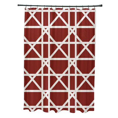 Osage Trellis Geometric Print Shower Curtain Color: Orange