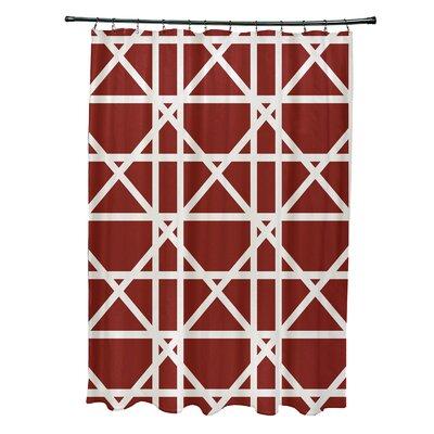 Osage Trellis Geometric Print Shower Curtain Color: Orange