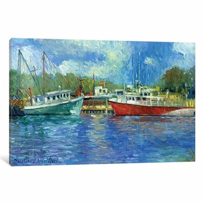 Wickford Boats Painting Print on Wrapped Canvas Size: 12