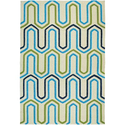Marshfield High Tide Hand-Woven Ivory/Blue Indoor/Outdoor Area Rug Rug Size: Runner 26 x 86