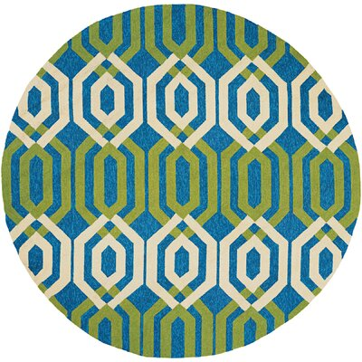 Marshfield Maisey Hand-Woven Azure/Green Indoor/Outdoor Area Rug Rug Size: Runner 26 x 86