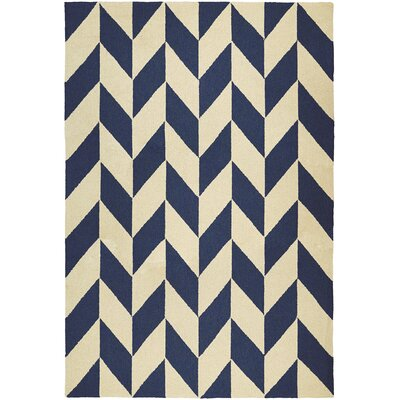 Breakwater Bay Marshfield Herringbone Hand-Woven Blue/Tan Indoor/Outdoor Area Rug