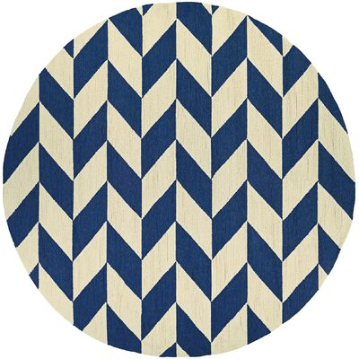 Marshfield Herringbone Hand-Woven Blue/Tan Indoor/Outdoor Area Rug Rug Size: 36 x 56