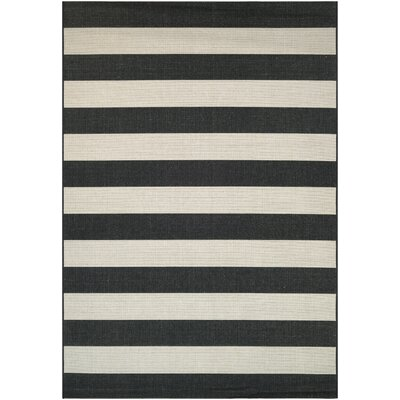 Gallinas Onyx/ Ivory Indoor/Outdoor Area Rug Rug Size: 92 x 125