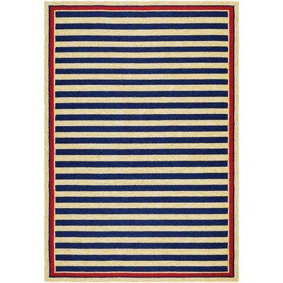 Marshfield Hand-Woven Navy/Yellow Indoor/Outdoor Area Rug Rug Size: 5'6