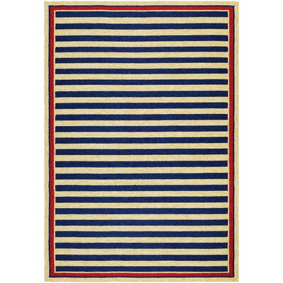 Montery Hand-Woven Navy/Yellow Indoor/Outdoor Area Rug Rug Size: 36 x 56