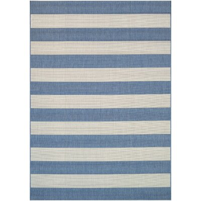 Gallinas Blue Striped Indoor/Outdoor Area Rug Rug Size: 53 x 76