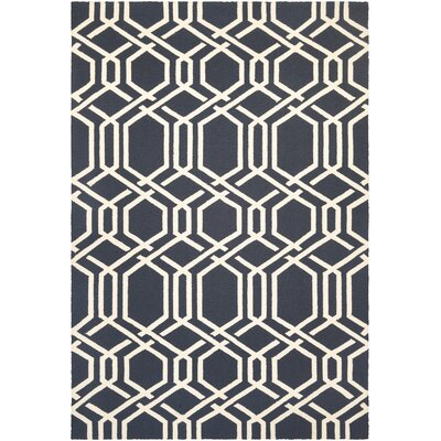 Marshfield Ariatta Hand-Woven Navy/Ivory Indoor/Outdoor Area Rug Rug Size: 8 x 11