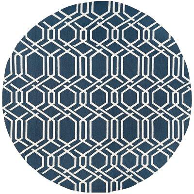 Marshfield Ariatta Hand-Woven Navy/Ivory Indoor/Outdoor Area Rug Rug Size: Round 710