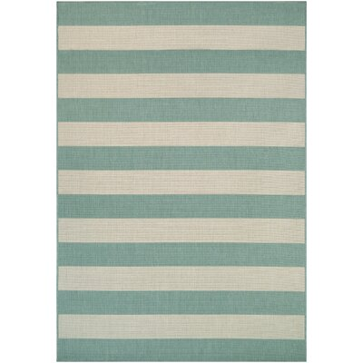 Fielding Teal/Ivory Indoor/Outdoor Area Rug Rug Size: Runner 22 x 119