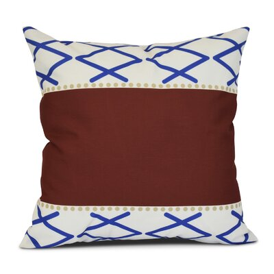 Adne Knot Fancy Outdoor Throw Pillow Size: 18 H x 18 W x 3 D, Color: Red/Blue