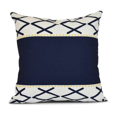 Bartow Knot Fancy Outdoor Throw Pillow Size: 16 H x 16 W x 3 D, Color: Navy Blue
