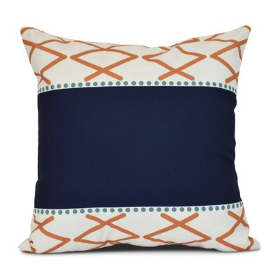 Bartow Knot Fancy Outdoor Throw Pillow Size: 16 H x 16 W x 3 D, Color: Orange/Navy Blue
