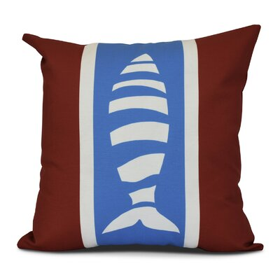 Golden Gate Puzzle Fish Outdoor Throw Pillow Size: 18 H x 18 W x 3 D, Color: Red