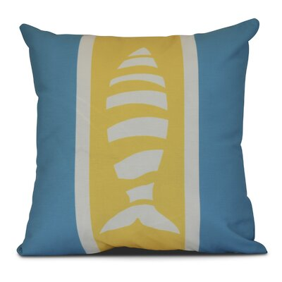 Bartow Puzzle Fish Outdoor Throw Pillow Size: 18 H x 18 W x 3 D, Color: Navy Blue