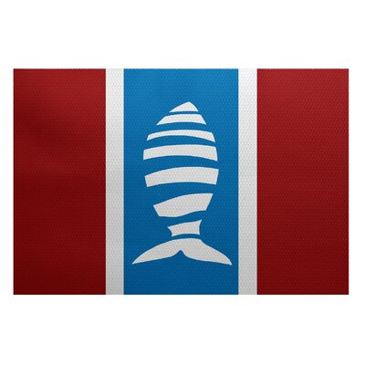 Golden Gate Red/Blue Indoor/Outdoor Area Rug Rug Size: 2 x 3