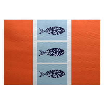 Bartow Orange/Blue Indoor/Outdoor Area Rug Rug Size: 5 x 7