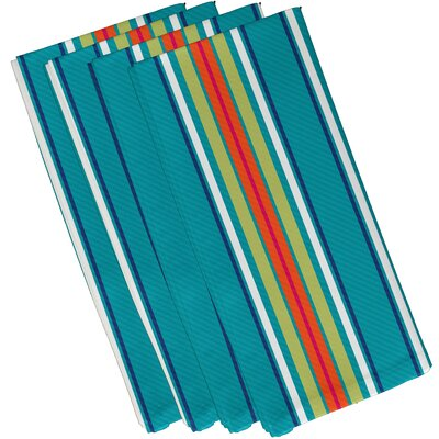 Petersfield Multi-Stripe Napkin Color: Turquoise