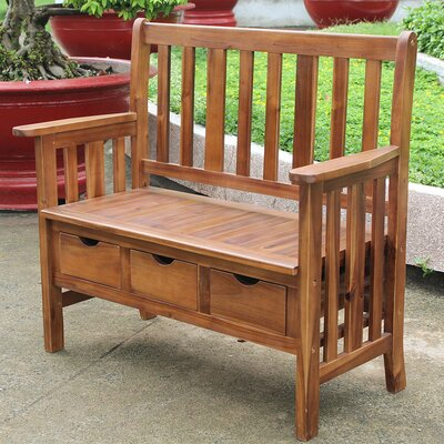 Sandy Point 3 Drawer Wood Garden Bench Finish: Stain