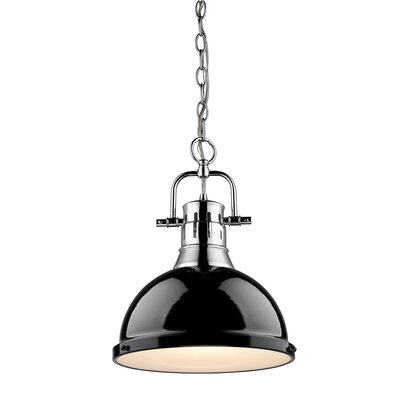 Bodalla 1-Light Inverted Pendant Finish: Chrome with Black Shade