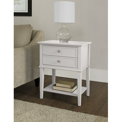 Winfield 2 Drawer End Table Finish: White