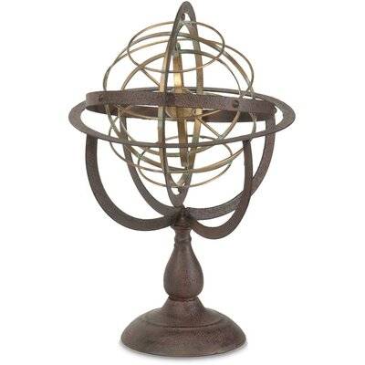Armillary Sphere Brown Metal Sculpture