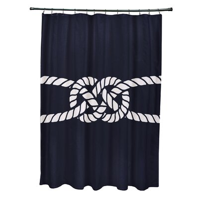 Hancock Carrick Bend Geometric Shower Curtain Color: Navy Blue