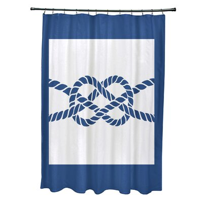 Hancock Nautical Knot Geometric Shower Curtain Color: Blue