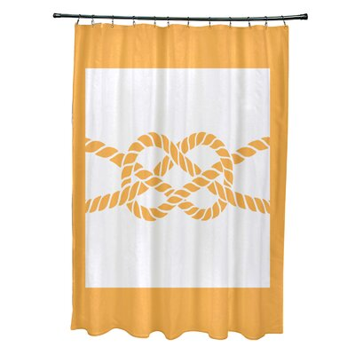 Hancock Nautical Knot Geometric Shower Curtain Color: Yellow