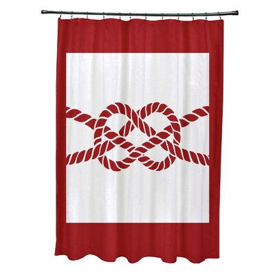 Hancock Nautical Knot Geometric Shower Curtain Color: Red