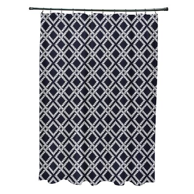 Hancock Rope Rigging Geometric Shower Curtain Color: Navy Blue